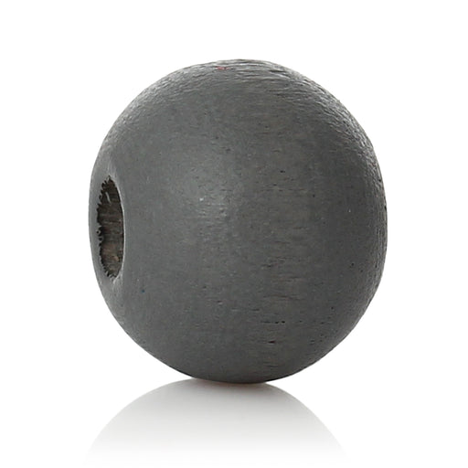 1,000 Painted Gray Wood Beads 8mm with 2mm Hole