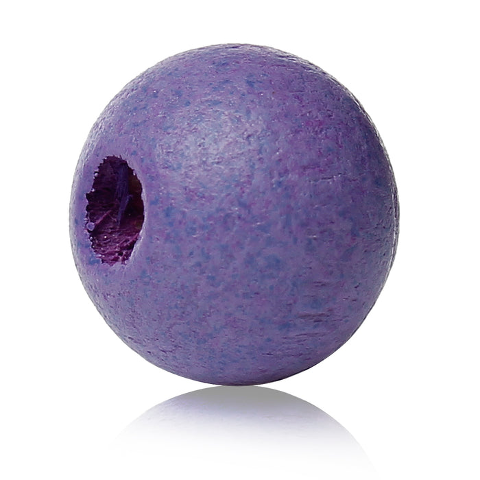 1,000 Painted Purple Round Wood Beads 8mm with 2mm Hole