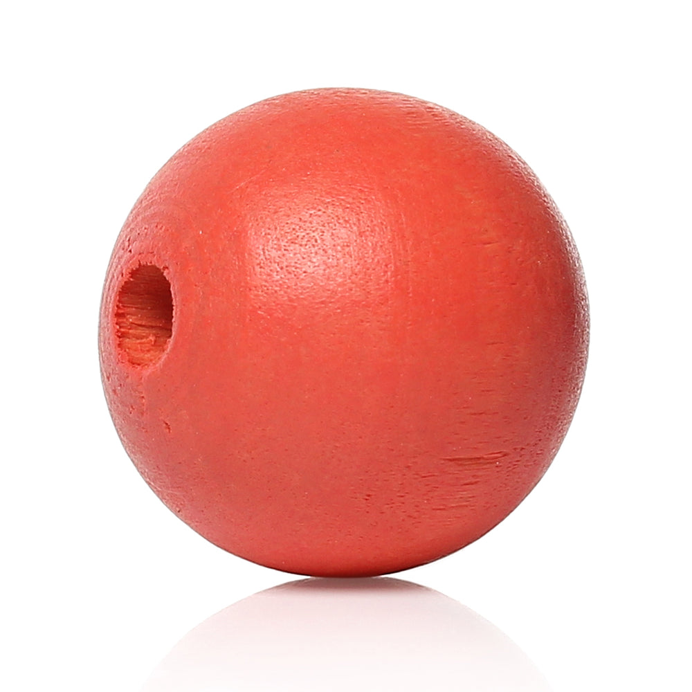 1,000 Painted Watermelon Red Round Wood Beads 8mm with 2mm Hole
