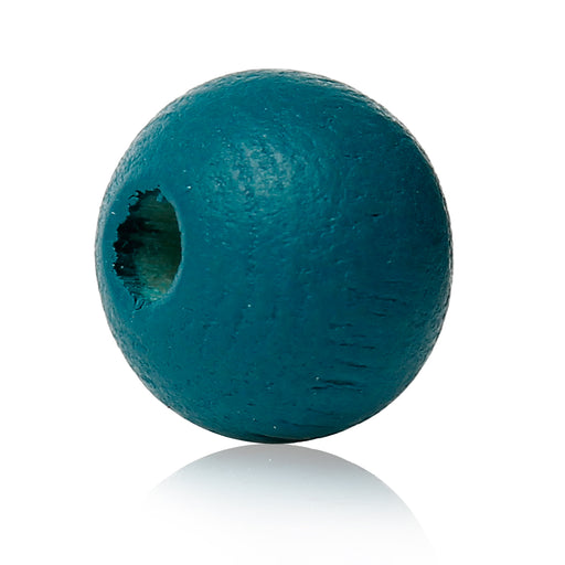 1,000 Painted Teal Aqua Round Wood Beads 8mm with 2mm Hole