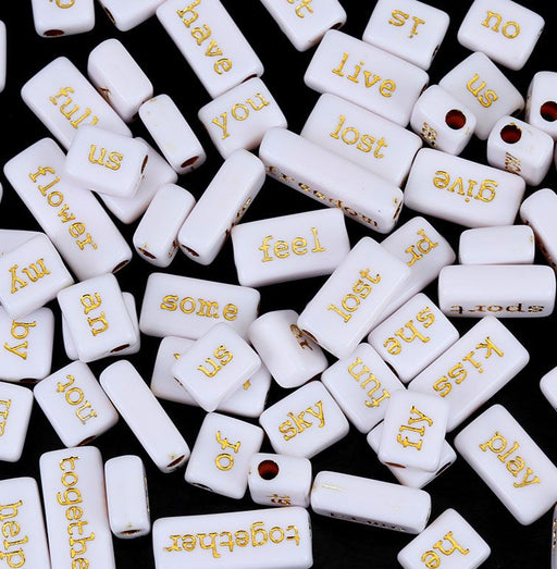 100 Grams White Acrylic Phrase Beads with Gold Letters 10mm with 3.1mm Hole