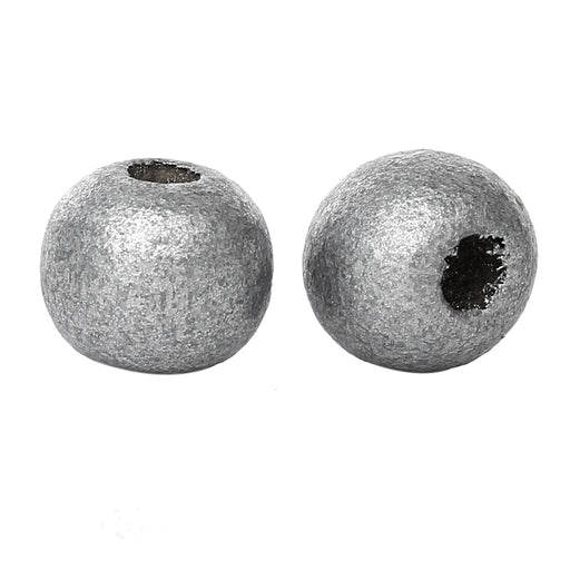1,000 Metallic Silver Wood Beads Bulk 10mm Round Wood Bead with 3.5mm Large Hole