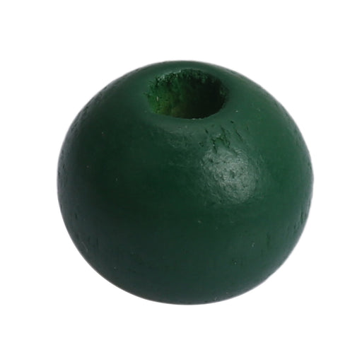 100 Forest Green Round Wood Beads Bulk 16mm with 4.2mm Hole