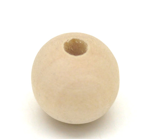 200 Natural Unfinished Round Wood Beads Bulk 16mm with 4mm Hole
