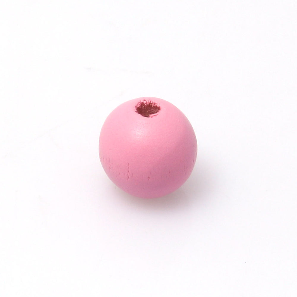 100 Pink Round Wood Beads Bulk 16mm with 4.2mm Hole