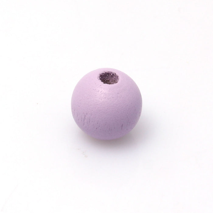 100 Purple Round Wood Beads Bulk 16mm with 4.2mm Hole