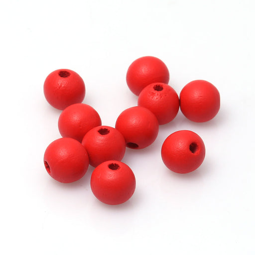 500 Red Wood Beads 9mm Round with 2.4mm Hole