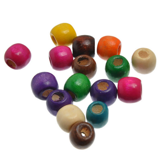 300 Round Wood Beads Assorted Colors 12mm x 11mm with 5.3mm Large Hole