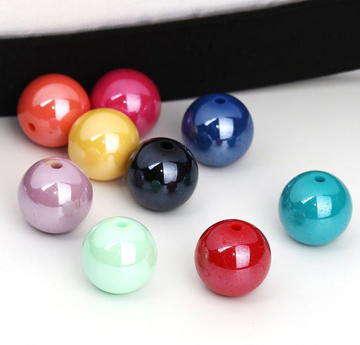 100 Round AB Multicolor Acrylic Beads 14mm Diameter with 1.9mm Hole