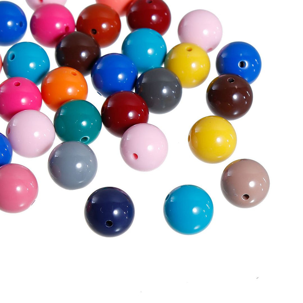 200 Round Multicolor Acrylic Beads 14mm Diameter with 1.5mm Hole