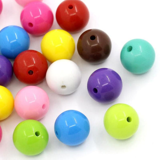 150 Round Multicolor Acrylic Beads 16mm Diameter with 2.3mm Hole