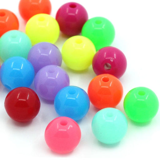400 Round Neon Multicolor Acrylic Beads 10mm Diameter with 2mm Hole