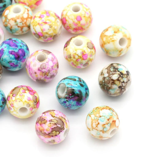 100 Round Acrylic Beads in Watercolor Splatter Patterns 14mm with 3.6mm Hole