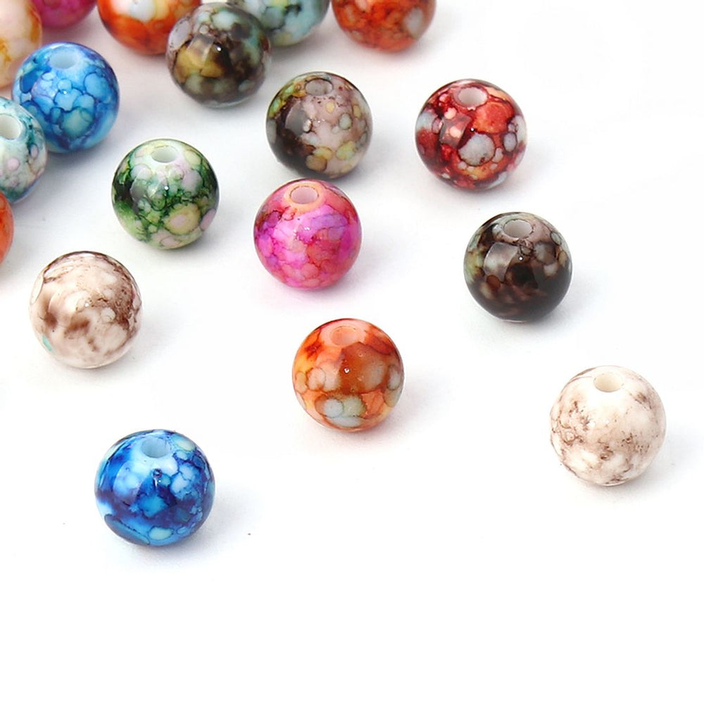 100 Round Acrylic Beads in Watercolor Splatter Patterns 8mm with 1.6mm Hole