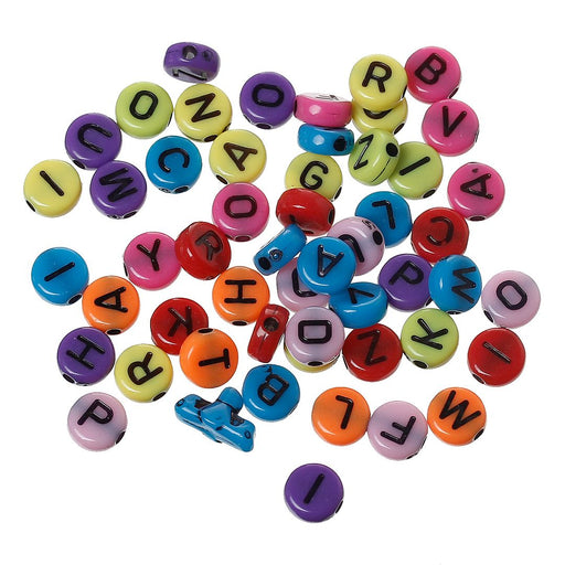 2,000 Round Multicolor Acrylic Letter Beads Black Letters 7mm with 1.7mm Hole