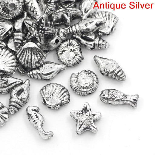 1000 Silver Acrylic Seashell and Fish Shapes Beads Assorted Sea Creatures 7 to 15mm or 1/4 x 5/8 Inch Diameter with 1mm Hole