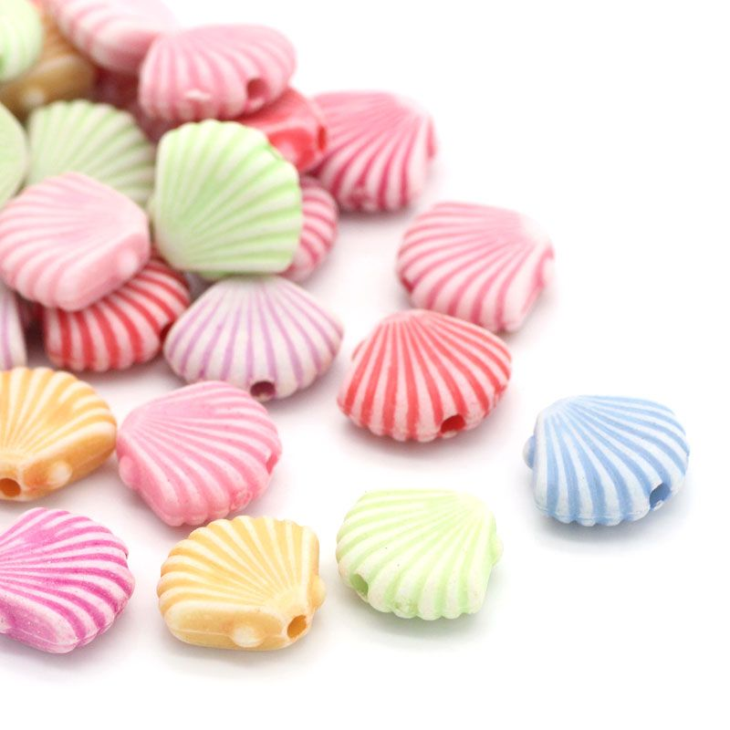600 Acrylic Multicolor Sea Shell Beads 12mm x 10mm with 1mm Hole