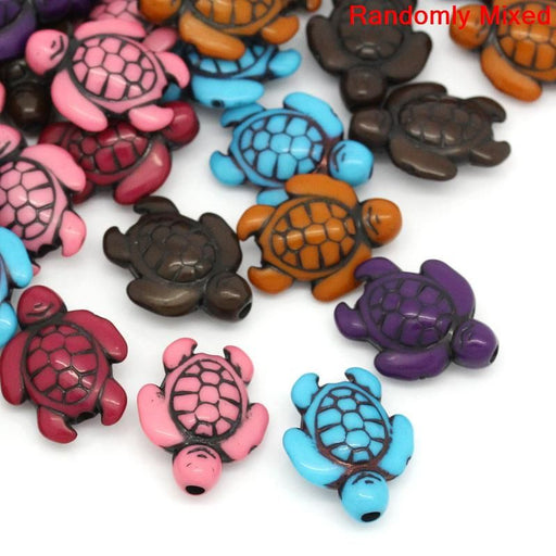 300 Turtle Beads Multicolor Tortoise Beads 18 x 15mm or 3/4 x 5/8 Inch Diameter with 1.8mm Hole