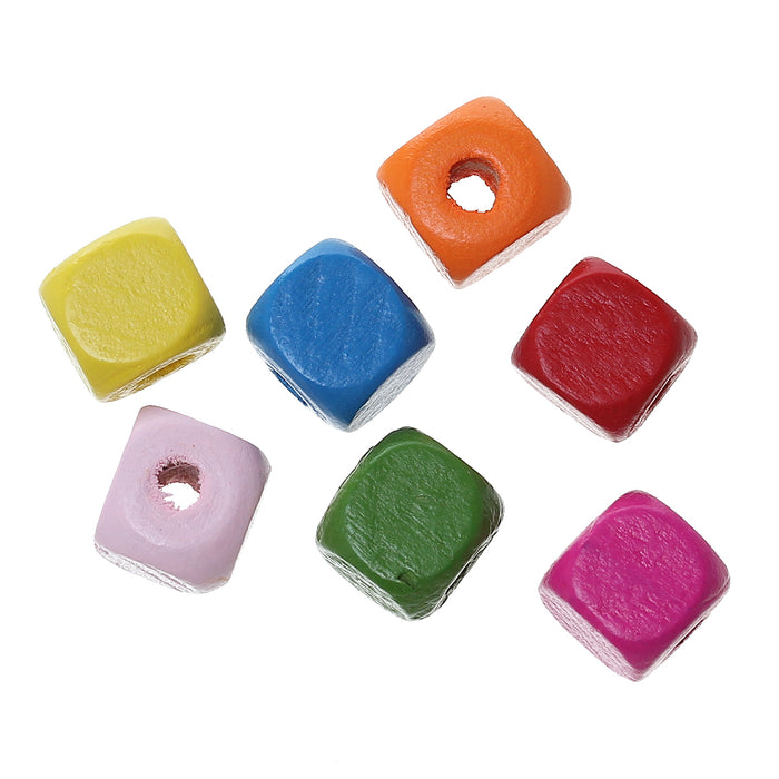 900 Multicolor Square Wood Beads Bulk 10mm Square Wood Beads with 3mm Large Hole