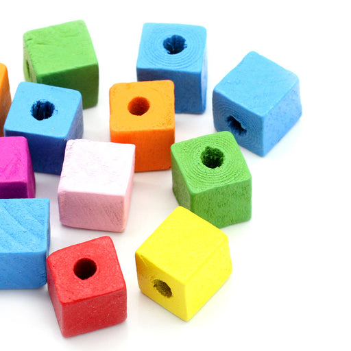 200 Multicolor Square Wood Beads Bulk 14mm x 13mm Square Wood Beads with 4.5mm Hole