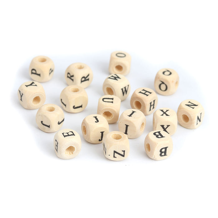 500 Square Wood Letter Beads Unfinished Bead with Black Letters 10mm with 4mm Hole