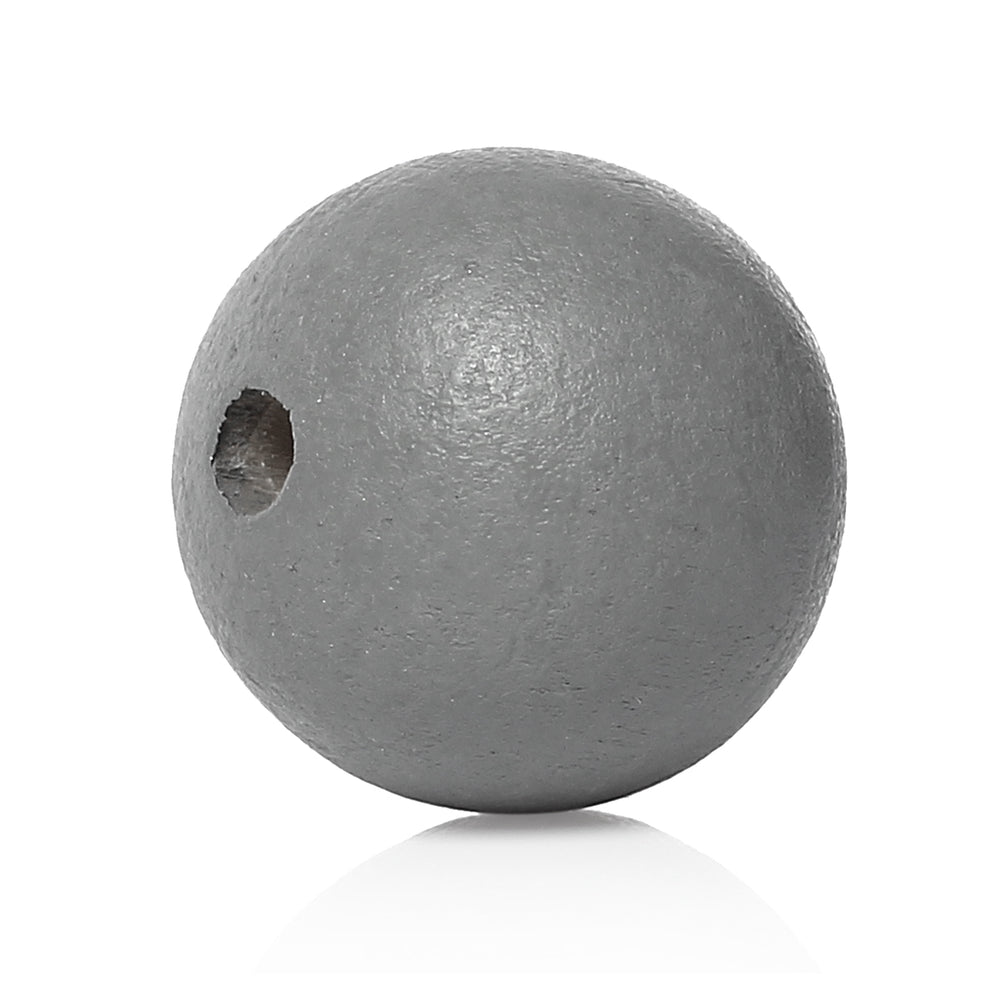 40 Painted Dark Grey Round Wood Bead 25mm with 5.4mm Hole