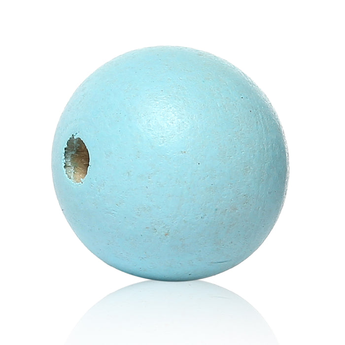 40 Painted Sky Blue Round Wood Bead 25mm with 5.4mm Hole