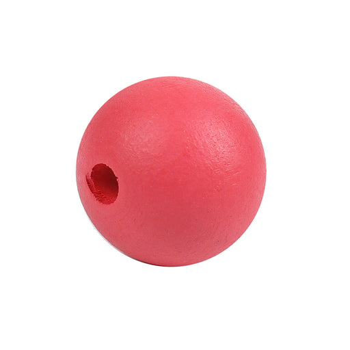 40 Painted Red Round Wood Bead 25mm with 5.4mm Hole