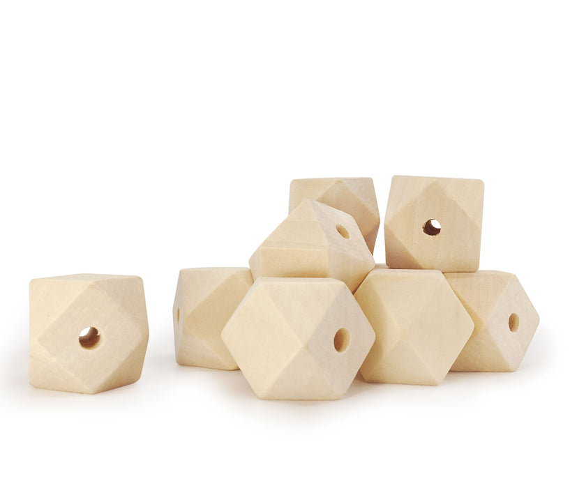 30 Unfinished Wood Beads 25mm 1 Inch Geometric Faceted Wood Bead with 4mm Hole