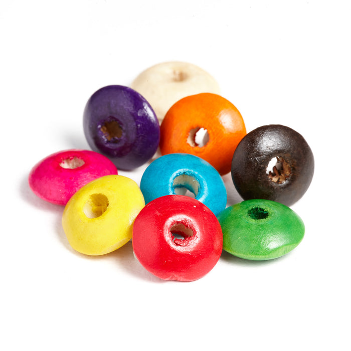 600 Multicolor Round Rondelle Wood Beads 14mm x 6mm with 3.8mm Hole