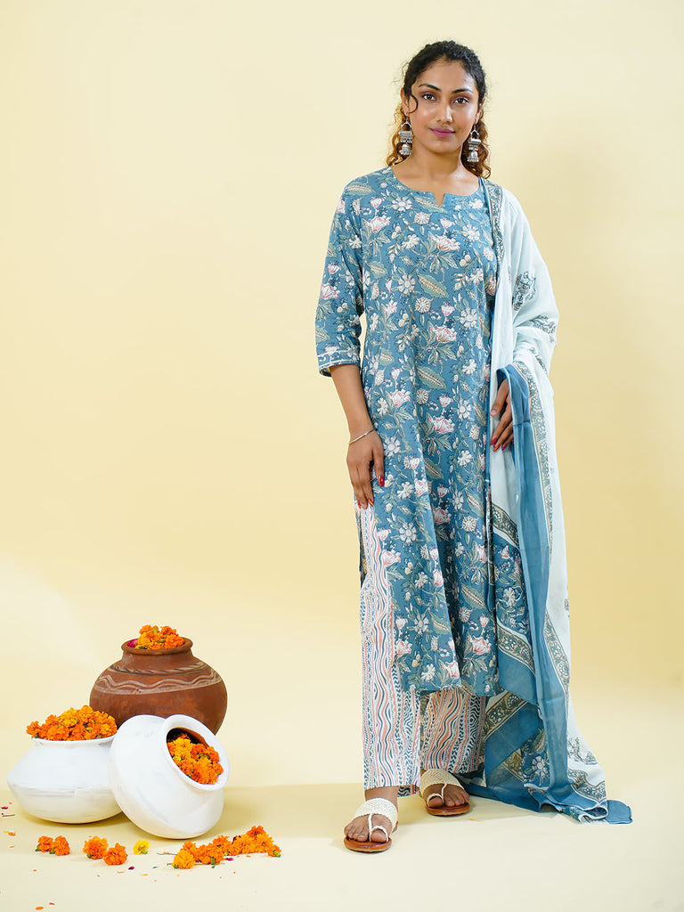 Chacha's 101811 Printed cotton kurta with printed palazzo pants and dupatta