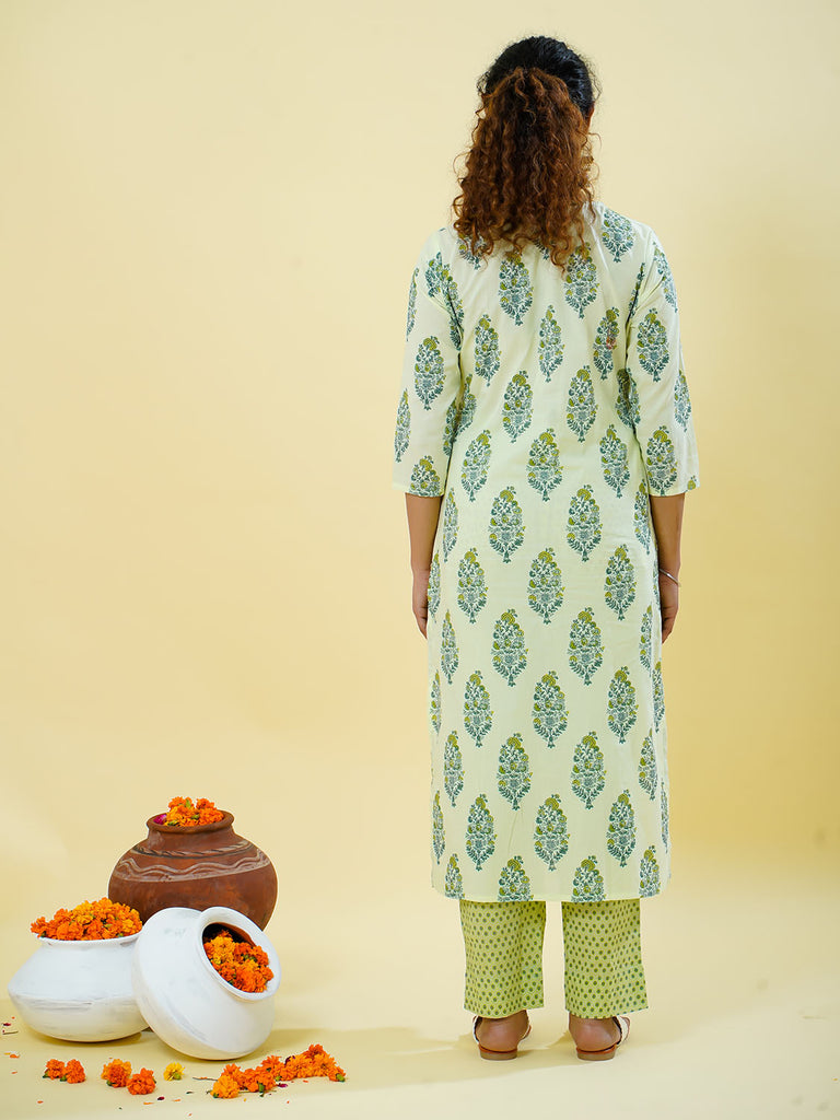 Chacha's 101802 printed cotton kurta with printed palazzo pants