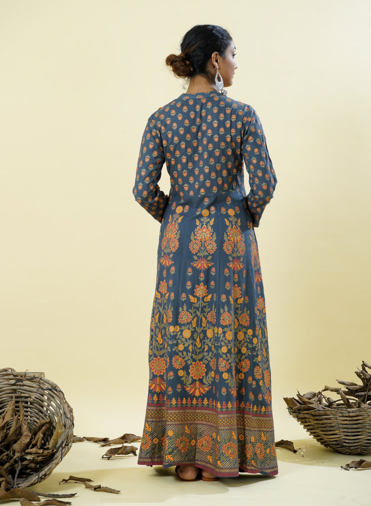 Chacha's 101830 long A-Line rayon kurta with thread embroidery detailing