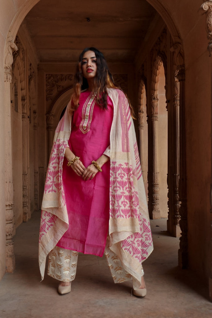 Chacha's 21354 Chanderi silk kurta set