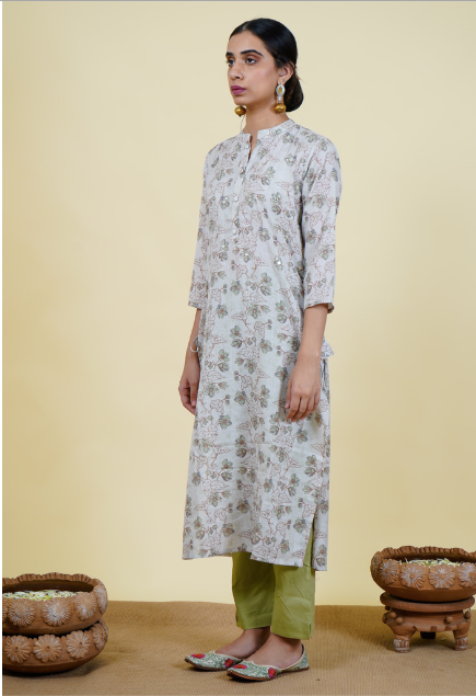 Chacha's 101919 printed cotton linen kurta set.