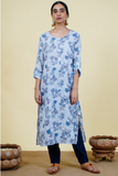 Chacha's 101920 printed cotton linen kurta set