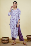 Chacha's 101921 Printed cotton linen kurta set