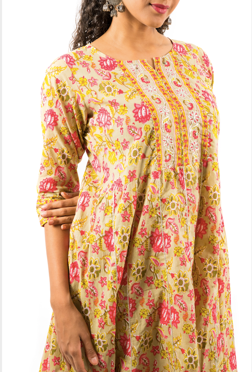 Chacha's 21376 printed cotton kurta set