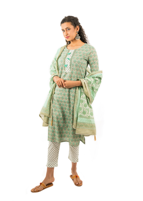 Chacha's 21373 printed cotton kurta set