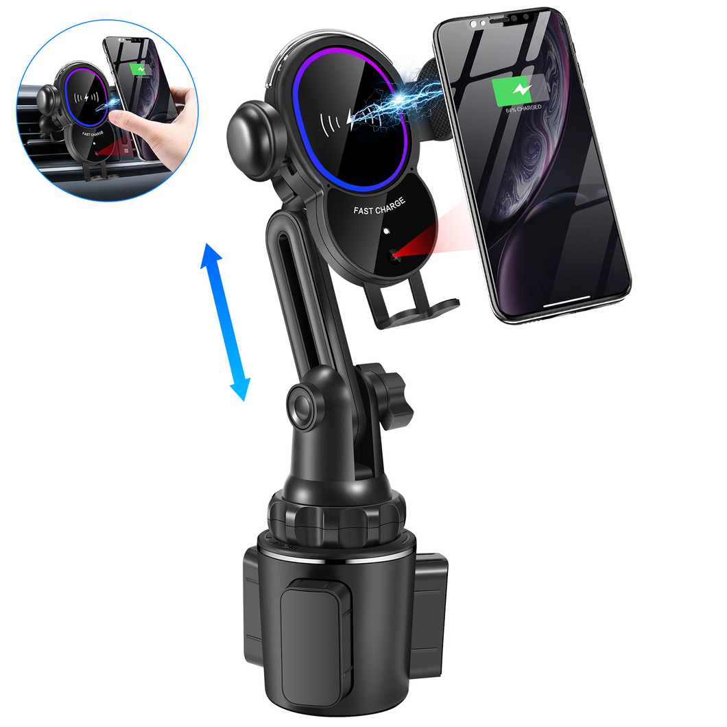 [Upgraded] Cup Phone Holder Car Wireless Charger Mount, Triangle Linkage Infrared Smart Sensing Qi 10W Fast Charging Cell Phone Mount, Universal Adjustable Auto-Clamping Car Phone Air Vent Cradle