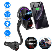 Load image into Gallery viewer, WALOTAR Car Cigarette Lighter Wireless Charger Mount- Automatic Clamping Phone Holder,Infrared Smart Sensor Dual USB QC3.0 Ports 10W 7.5W Qi Fast Charging Air Vent Cradle for Cell Phone