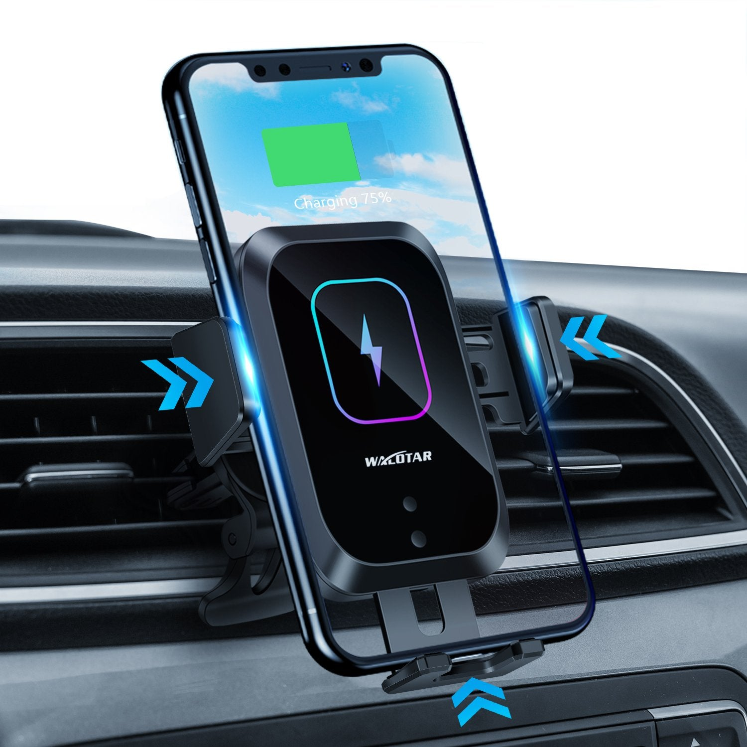 Walotar Wireless Car Charger Auto-Clamping Phone Mount,15W Qi Fast Charging Car Charger Air Vent Phone Holder Compatible with iPhone 12 Pro Max/11 Pro Max/Xs MAX/X/8,Samsung S20/S10/S10+/S9/S9+/S8