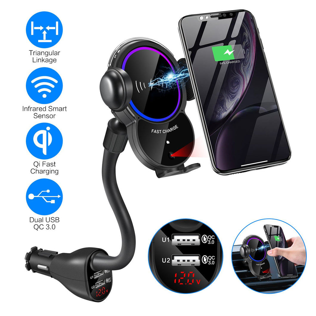 WALOTAR Car Cigarette Lighter Wireless Charger Mount- Automatic Clamping Phone Holder,Infrared Smart Sensor Dual USB QC3.0 Ports 10W 7.5W Qi Fast Charging Air Vent Cradle for Cell Phone