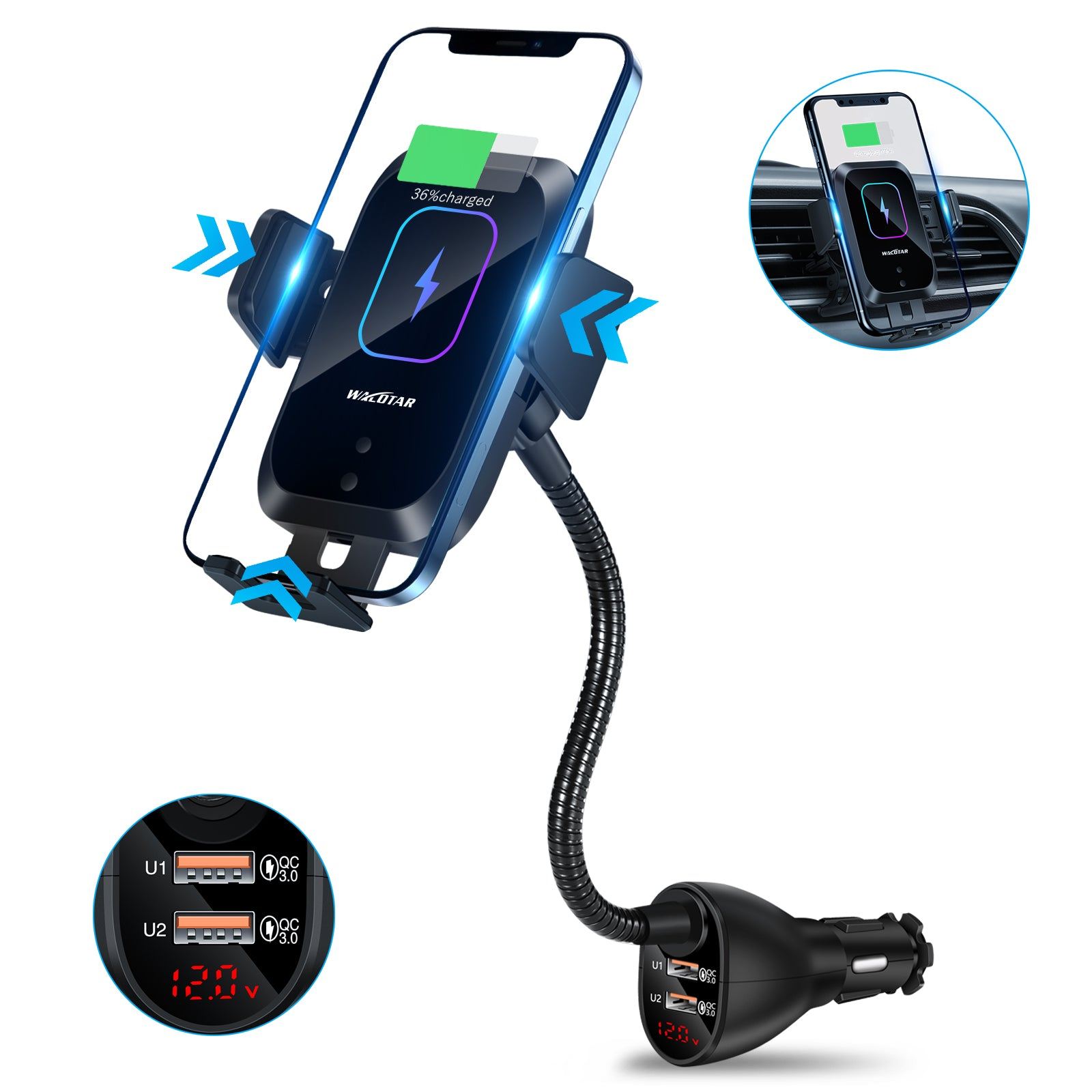 HVDI Wireless Car Charger Mount,Car Cigarette Lighter 15W Qi Fast Charging Auto-Clamping Dual QC 3.0 Port Air Vent Car Charger Phone Holder,for iPhone 12 Pro Max/11 Pro Max/XR/X/8,Samsung S20/S10/9/8