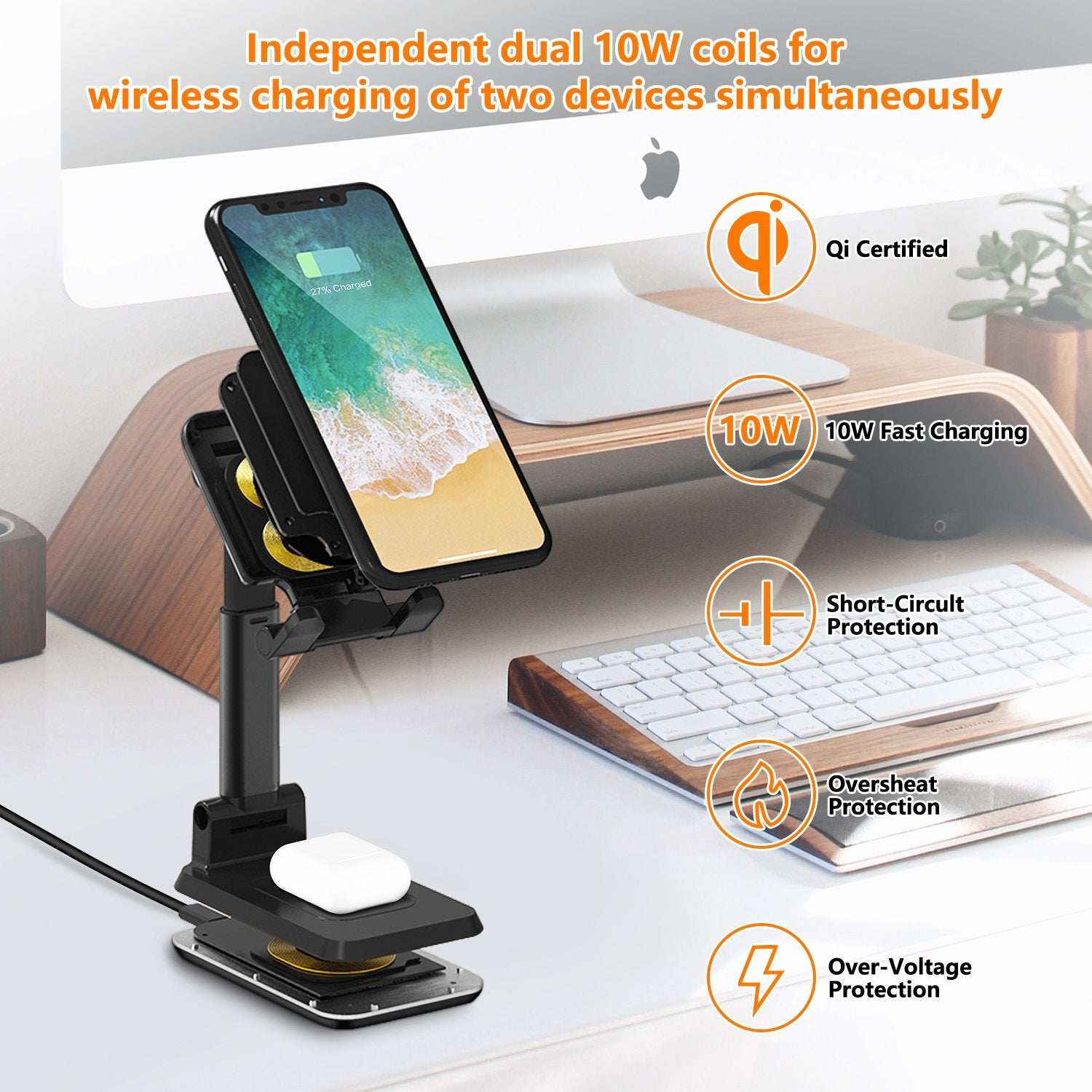 Cell Phone Stand Wireless Charger for Desk-WALOTAR Dual 10W Qi Fast Wireless Charging Foldable Angle&Height Adjustable Phone Holder for iPhone 11/Pro/Max/X/XR/XS Max/8/AirPods/Pro,Galaxy S20/S10/S9/S8