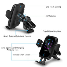 Load image into Gallery viewer, Walotar Wireless Car Charger Auto-Clamping Phone Mount,15W Qi Fast Charging Car Charger Air Vent Phone Holder Compatible with iPhone 12 Pro Max/11 Pro Max/Xs MAX/X/8,Samsung S20/S10/S10+/S9/S9+/S8