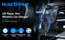 Load image into Gallery viewer, WALOTAR Wireless Car Charger CD Slot Phone Mount, Auto-Clamping 10W Qi Fast Charging Infrared Smart Sensor Air Vent Cell Phone Holder,Compatible with iPhone 12 Pro Max 11 Xs Xr X 8,Samsung S20 S10 S9
