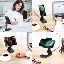Load image into Gallery viewer, Cell Phone Stand Wireless Charger for Desk-WALOTAR Dual 10W Qi Fast Wireless Charging Foldable Angle&Height Adjustable Phone Holder for iPhone 11/Pro/Max/X/XR/XS Max/8/AirPods/Pro,Galaxy S20/S10/S9/S8