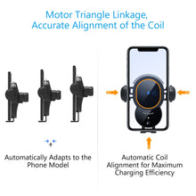 Load image into Gallery viewer, [Upgraded] Cup Phone Holder Car Wireless Charger Mount, Triangle Linkage Infrared Smart Sensing Qi 10W Fast Charging Cell Phone Mount, Universal Adjustable Auto-Clamping Car Phone Air Vent Cradle