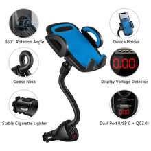 Load image into Gallery viewer, WALOTAR USB C PD Car Cigarette Lighter iPhone Mount Holder- Fast Car Charger 45W Power Delivery Dual Port(USB TypeC+QC3.0),Adjustable Cell Phone Cradle with USB C to Lightning Cable